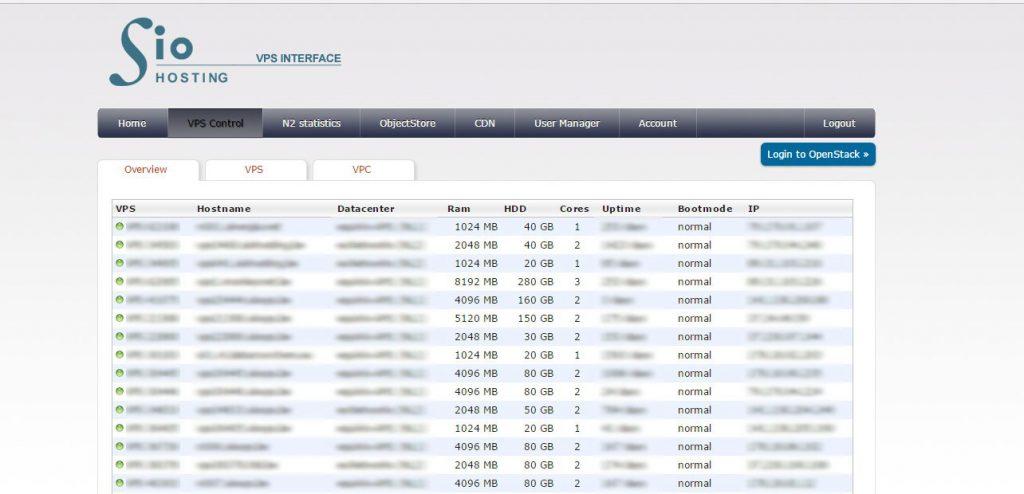 VPS Serverinterface