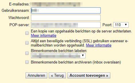 gmail gegevens ingeven